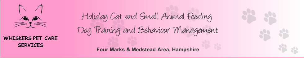 Whiskers Pet Care Services - Holiday Cat and Small Animal Feeding | Dog Training and Behaviour Management. Four Marks, Medstead areas, Hampshire.